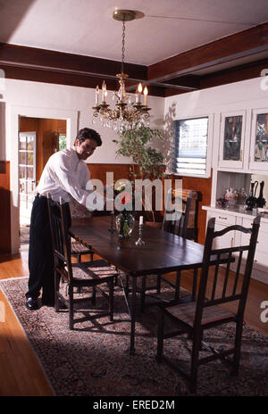Michael Damian, portrait in his dining room, Los Angeles, USA. American actor, singer and producer, b April 26, - Stock Photo