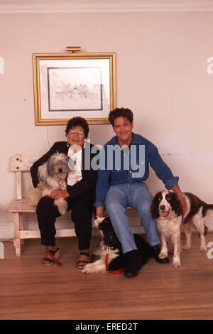Michael Damian, portrait with his mother and dogs in Los Angeles, USA. American actor, singer and producer, b April - Stock Photo