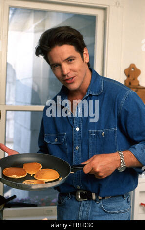Michael Damian, portrait holding pancakes in Los Angeles, USA. American actor, singer and producer, b April 26, - Stock Photo