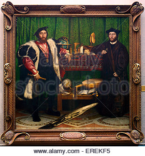 The Ambassadors by Hans Holbein the Younger, German artist and printmaker. 1533, oil on oak.  Jean de Dinteville, - Stock Photo