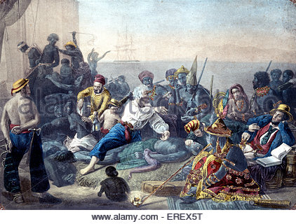 The Slave Trade  by Auguste François Biard, 19th century.  Scene off the coast of Africa. AFB: French painter, 30 - Stock Photo