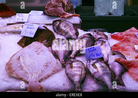 Fish stall in the Central Market, Valencia - Stock Photo