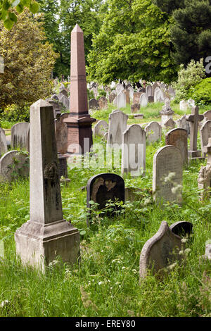 An overgrown section of Brompton Cemetery, with Gravestomes, Monuments and Crosses. - Stock Photo