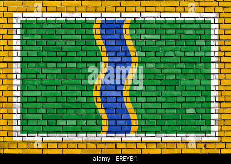 flag of Andorra la Vella painted on brick wall - Stock Photo