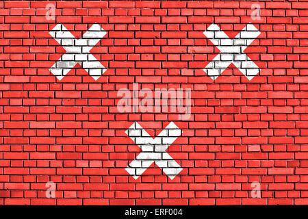 flag of Breda painted on brick wall - Stock Photo