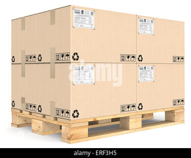 Eur Pallet with pile of brown cardboard boxes. Detailed Shipping labels. - Stock Photo