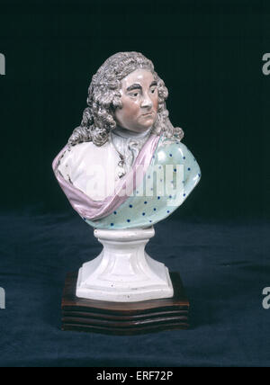 HANDEL, George Frederic Staffordshire china miniature bust. German-English composer, 1685-1759 - Stock Photo