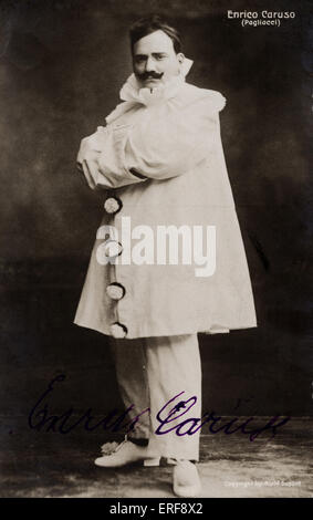 CARUSO, Enrico - in I Pagliacci  - signed photo opera written by Leoncavallo. Photographer, Aime Dupont. Autographed. - Stock Photo