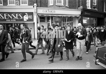 Group of Punks marching in the King's Road, London, UK, in 1979. - Stock Photo