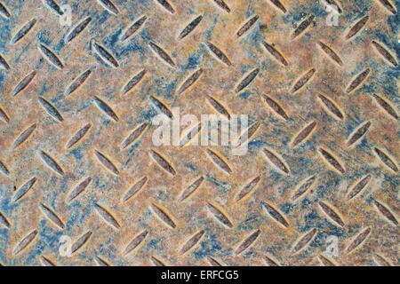 rusty blue patterned steel sheet background backdrop - Stock Photo