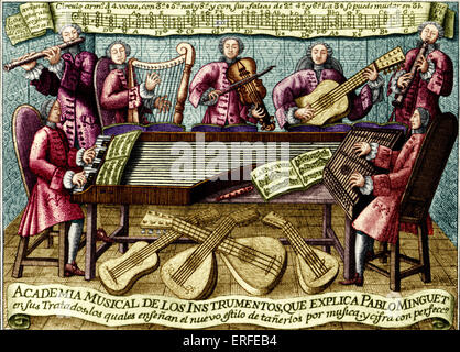 Spanish musical treatise cover, 1752. 'Rules and Advice for the Playing of All the Best Musical Instruments' - treatise - Stock Photo
