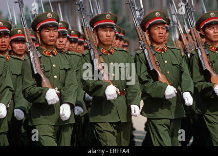 Peoples Liberation Army officers drilling at Shijiazhuang Military Academy, Hubei province, China, 1985 - Stock Photo