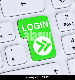 Internet concept login button submit with password on computer - Stock Photo
