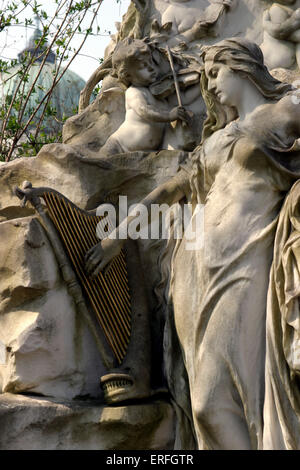 Johann Strauss II - close up of the grave of the Austrian composer in the Zentralfiredhof (central cemetery), Vienna, - Stock Photo