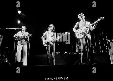 Fairport Convention - band members Dave Swarbrick, Dave Pegg & Simon Nicol performing in London, 1977. Folk-rock - Stock Photo