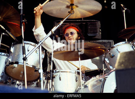 Ian Paice - portrait of the English drummer performing with Gary Moore at the 1977 Reading Festival. Member of rock - Stock Photo