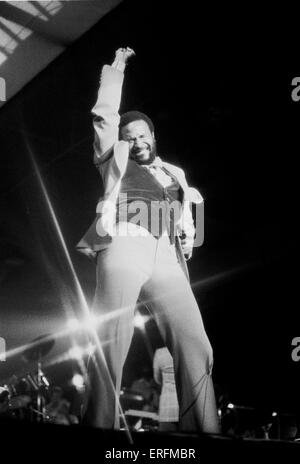 Marvin Gaye - portrait of the American soul and R&B singer performing at the Bingley Hall, Birmingham, England in - Stock Photo