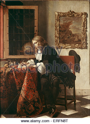 Man Writing a Letter by Gabriel Metsu, 1662-1665 Painting. Dutch painter, January 1629 - 24 October 1667). Courtesy - Stock Photo