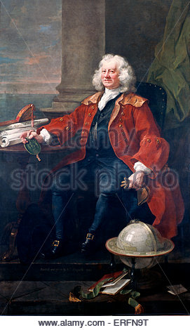 Captain Thomas Coram by William Hogarth, 1740 Painting. English artist, 10 November 1697 -  26 October 1764.  Hospital - Stock Photo