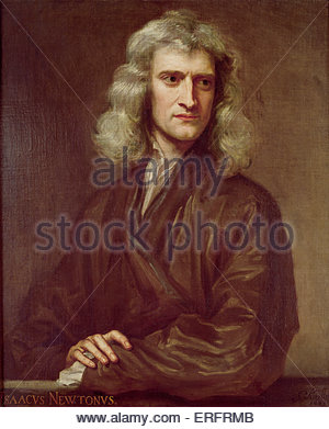 Sir Isaac Newton - painting by Sir Godfrey Kneller, 1689. Courtesy of Uckfield House, Uckfield. IN, English physicist, - Stock Photo