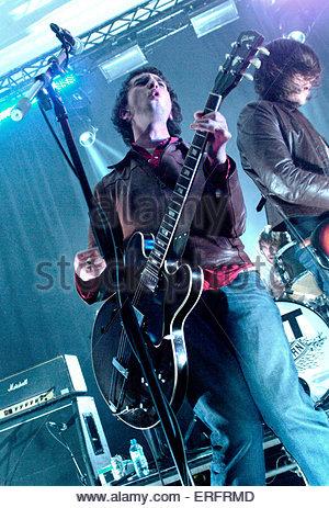 Nic Cester of Jet performing in Bristol, November 2003. - Stock Photo