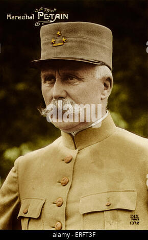 Marshal Pétain in uniform - French general and later head of state of Vichy, France (1940 - 1944) Born Henri Philippe - Stock Photo