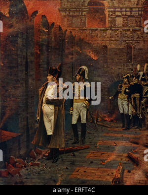 Napoleon Bonaparte at the Moscow Kremlin, Russia, watching the great Fire of Moscow, September 1812. After a painting - Stock Photo