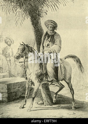 Muhammad Ali of Egypt on horseback - engraving by Delpech after painting by Horace Vernet (French painter: 30 June - Stock Photo