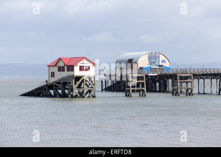 Lifeboat Stations old and new Mumbles South Wales UK - Stock Photo