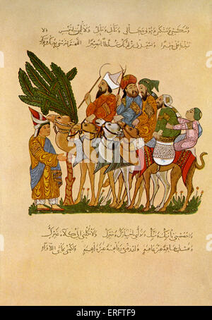 Arab life during the Abbasidian times - miniatures from the Maqamat of al-Hariri. Abassid caliphate (758-1258) - Stock Photo