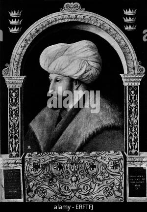 Sultan Muhammad II (also known as Mehmet II or Muhammad the Conqueror) - after a painting by Gentile Bellini.  Reign: - Stock Photo