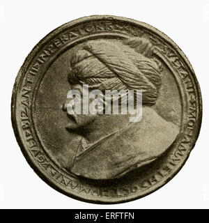 Sultan Muhammad II (also known as Mehmet II or Muhammad the Conqueror) - coin by Florentine medal maker Constantius. - Stock Photo