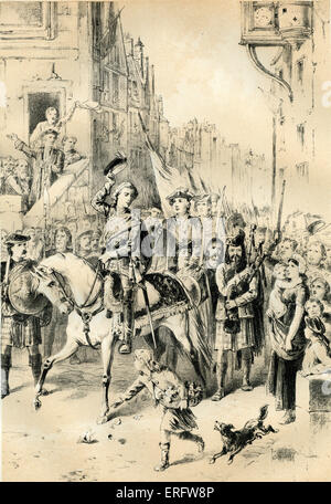 Prince Charles Edward entering Edinburgh after the battle of Prestonpans (1745), the first significant conflict - Stock Photo