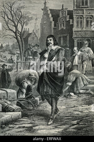 René Descartes  in Amsterdam. Descartes was a highly influential French philosopher, mathematician, scientist, and - Stock Photo