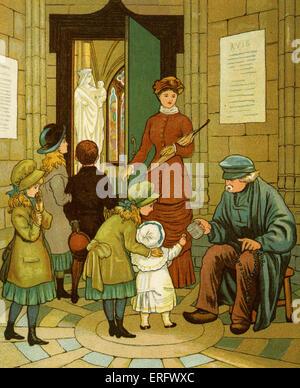Beggar at church doors in Rouen, Church of St-Ouen / Eglise de Saint Ouen, France.  By Thomas Crane and Ellen E - Stock Photo