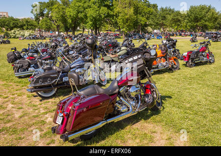 WASHINGTON, DC, USA - Motorcycles parked on National Mall during Rolling Thunder Rally on Memorial Day weekend. - Stock Photo
