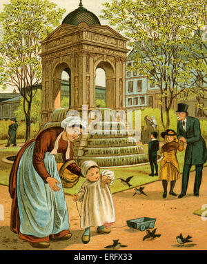 La Fontaine des Innocents - children feeding the birds with bread next to the fountain, Paris, France. 1882 Drawn - Stock Photo
