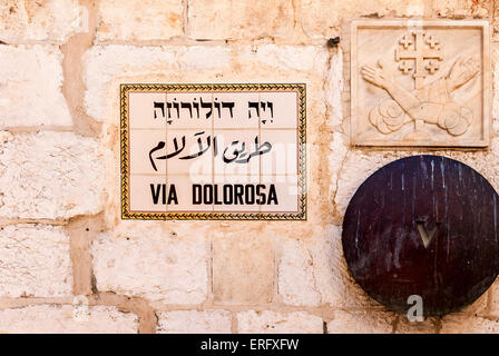 The fifth station of the God way on Via Dolorosa in Jerusalem. - Stock Photo