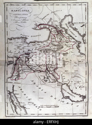 Map of Mesopotamia, Babylon, Syria and Assyria from late 18th century. - Stock Photo