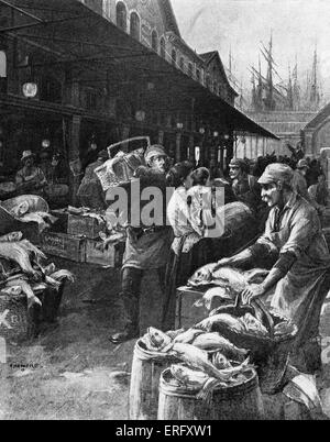 Old Fulton Market, New York, circa 1890s. Illustration shows a Thursday morning at the market when the Fulton Street - Stock Photo