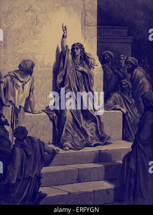 Deborah's song of triumph. Biblical scene from the Old Testament.  Woodcut by Gustave Doré (1832 - 1883).  Oratorio - Stock Photo