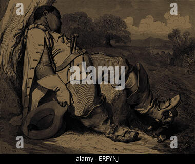Hop o' my Thumb: Hop o' my Thumb pulls off one of the sleeping giant 's seven-league boots, engraving by Gustave - Stock Photo