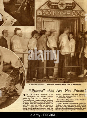 Pro-Soviet thirties propaganda in 'Russia to-day', December 1932 edition. Caption reads:Prisons' that are not Prisons!' - Stock Photo