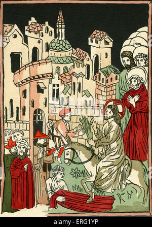 Christ entering Jerusalem on a donkey holding palm branches, watched by his disciples.  From the collection of Count - Stock Photo