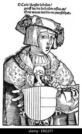 Charles V as a youth.  Charles V Holy Roman emperor 24 February 1500 - 21 September 1558.  Contemporary woodcut. - Stock Photo