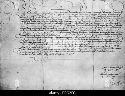 Letter from Charles V to Martin Luther guaranteeing his saftey on his journey to Worms. Dated 1521. ML German Chrisitian - Stock Photo