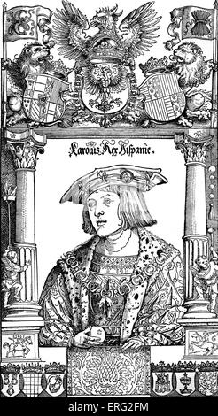 Charles V as a youth.  Charles V Holy Roman emperor 24 February 1500 - 21 September 1558.  Contemporary woodcut. - Stock Photo