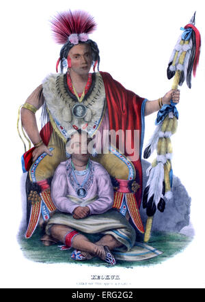 Keokuk, Native American chief of the Sacs and Foxes (Sauks and Musquakees) sitting with his son and heir. After - Stock Photo
