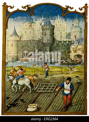 Country life a scene showing a field  being ploughed against the backdrop of a fortified town in the late Middle - Stock Photo