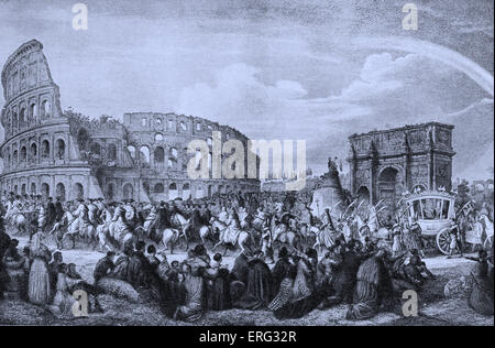 Pope Pius IX at the Colosseum, blessing the population of Rome, Italy.  Pope Pius IX 13 May 1793 - 7 February 1878. - Stock Photo